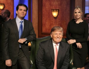 With Donald Jr and Ivanka on the set of the reality show The Apprentice