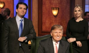 Donald Trump with Donald Trump Jr and Ivanka Trump during The Apprentice Season 6 finale.