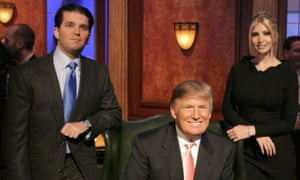 Vicious rivalry ... Donald Trump Jr and Ivanka with their father.
