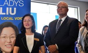 Scott Morrison at Gladys Liu's campaign launch in April.