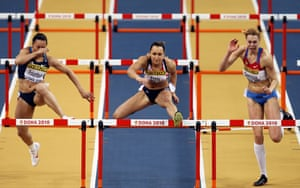 2010 At the World Indoor Championships in Doha, a British, Commonwealth and Championship record score of 4937 points gave her the pentathlon title, becoming the first British woman to win world titles both indoors and outdoors