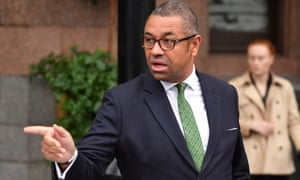 James Cleverly, the Conservative party chairman, leaving the conference hotel this morning.