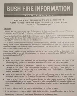 Community information about bushfires in the Coffs Harbour Bellingen region on Monday 11 November