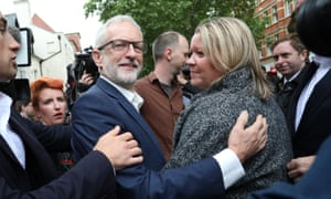 Jeremy Corbyn with Lisa Forbes after the Peterborough byelection.