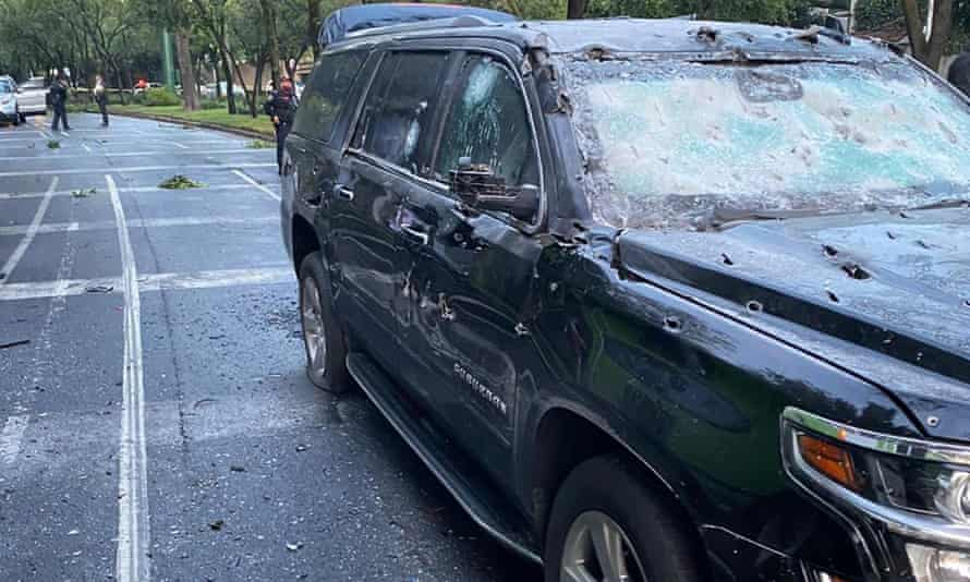 The bullet-riddled car of Mexico City's police chief, Omar García Harfuch, who survived the attack.