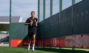 Cristiano Ronaldo in Manchester United training.