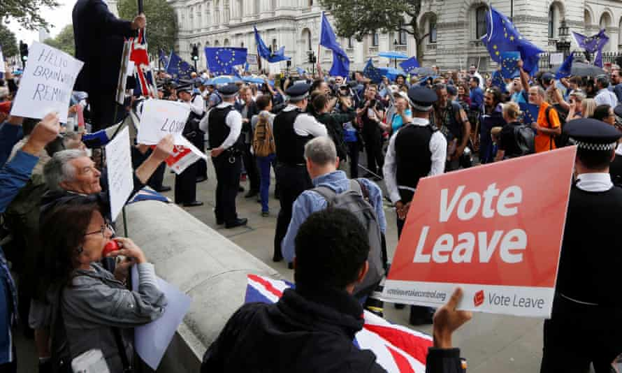 Brexit supporters at a pro-EU rally.