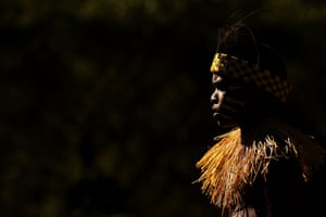 A dancer from the Injinoo community looks on during the Laura Aboriginal Dance Festival.