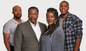 The cast of the Young Vic's Death of a Salesman, left to right: Arinzé Kene, Wendell Pierce, Sharon D Clarke and Martins Imhangbe.
