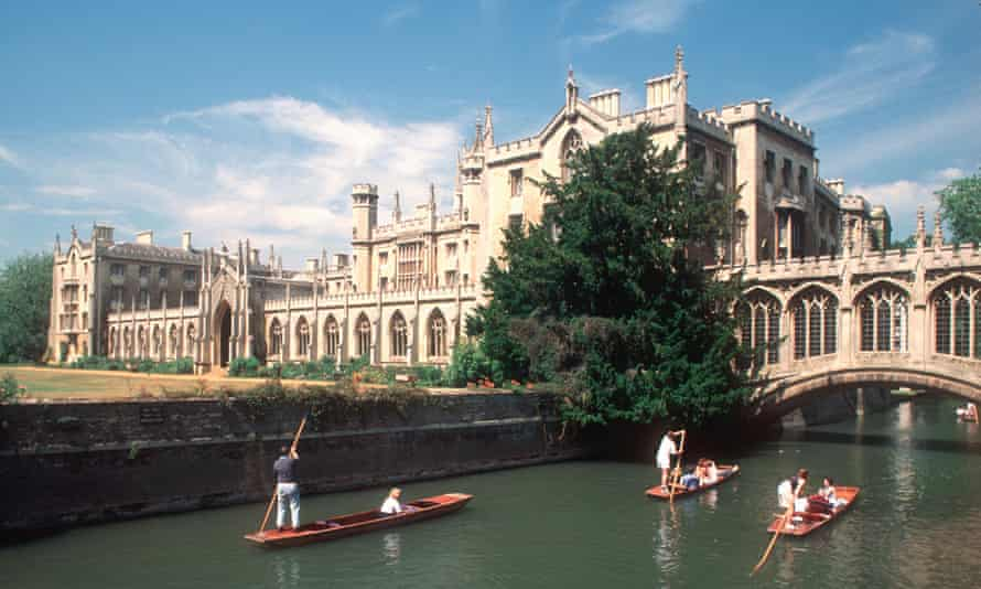 St John's College, Cambridge, and the river Cam with punts