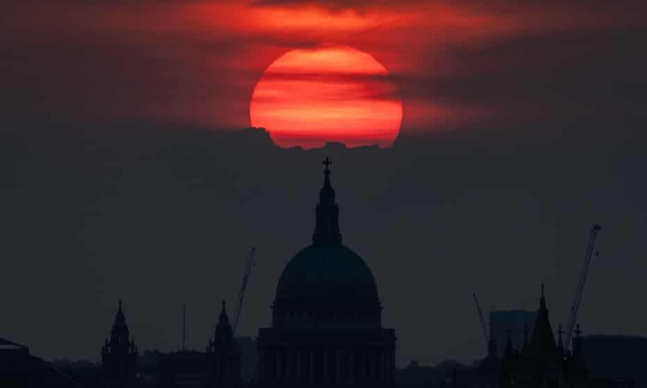 An evening sunset over St Paul's during the UK's July 2021 heatwave which saw the first ever amber extreme heat warning to be put in place this week.