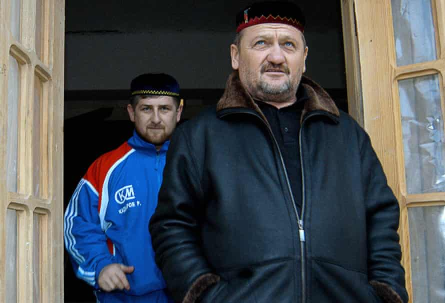 Ramzan Kadyrov and his father, Akhmad, then Chechen president, in January 2004. Akhmad was assassinated later that year