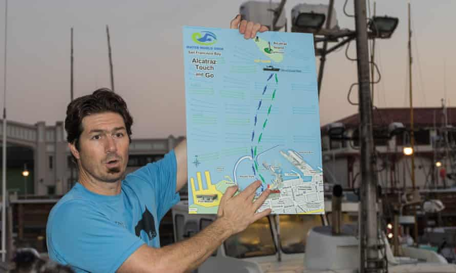 A swimming guide explains details of the route to swim from Alcatraz Island to the San Francisco shore.