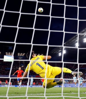Chile's Francisca Lara misses a penalty.