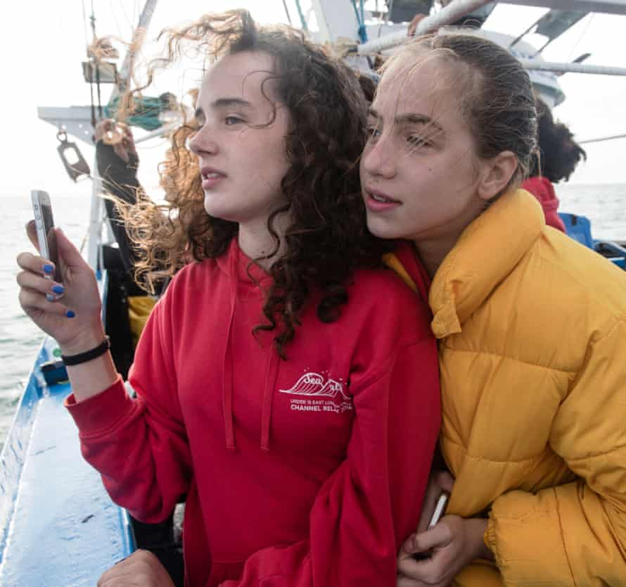 Eve and Lucy with cameraphones ready as Amelie heads for Cap Gris-Nez