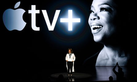 Oprah Winfrey joined Tim Cook at the Cupertino event.
