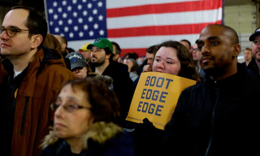 Attendees listen to Pete Buttigieg announce his presidential candidacy Sunday in South Bend, Indiana.