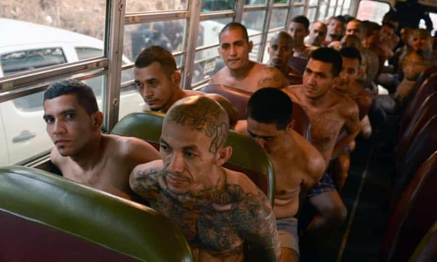 Imprisoned gang members in El Salvador