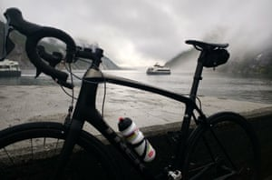 A dank and misty start at Lysebotn, Norway, just off the boat on Haute Route day 2.