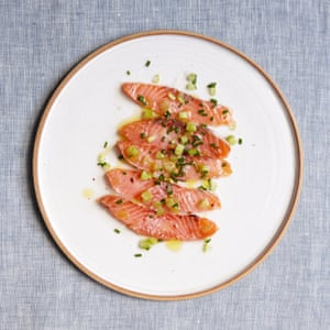 Mitch Tonk's cured salmon with maple and pink pepper.