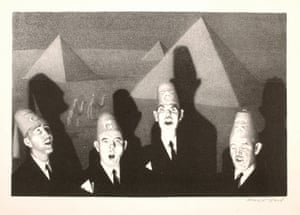"Grant Wood, ""Shrine Quartet,"" 1939. Lithograph."