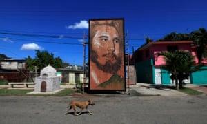 A painting depicting Cuba's former President Fidel Castro by Cuban artist Kcho in Havana, Cuba.