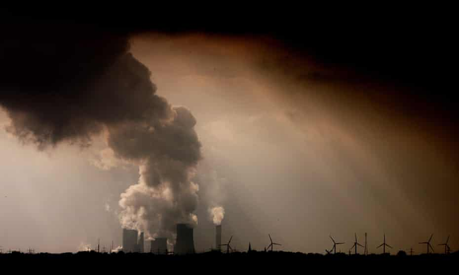 Steam and fumes emerge from the brown coal-fired power plant Niederaussem operated by RWE near Bergheim, Germany.