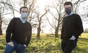 Sam Bowman and Stuart Ritchie wearing masks in park