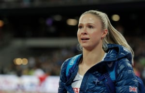 Great Britain's Sophie Hitchon cries as she leaves the arena after finishing out of the medals in the women's hammer.