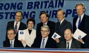 Michael Howard, top left, and John Major, bottom centre, in 1994, with other Conservatives