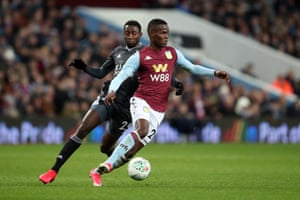 Aston Villa's Mbwana Samatta in action with Wilfred Ndidi of Leicester City during this week's Carabao Cup semi-final.