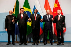The prime minister of India, Narendra Modi; the president of China, Xi Jinping; the president of South Africa, Cyril Ramaphosa; the president of Russia, Vladimir Putin; and the president of Brazil, Michel Temer