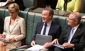 Education minister Christopher Pyne reacts to taunts from the opposition during question time in the house of representatives this afternoon, Tuesday 17th March 2015.