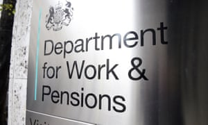 Signage for the Department for Work and Pensions in Westminster, London.