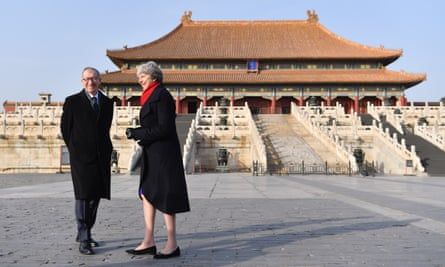 Theresa May and husband Philip May visit the Forbidden City, in Beijing.
