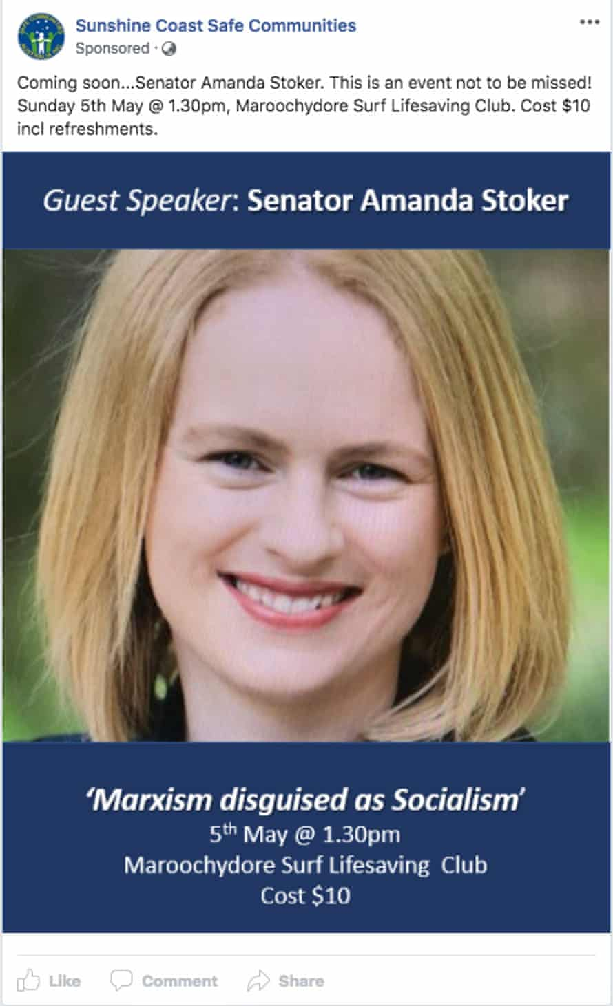 A Facebook ad used by the group to promote Amanda Stoker's speech
