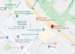 Location of Medtronic offices in Macquarie Park