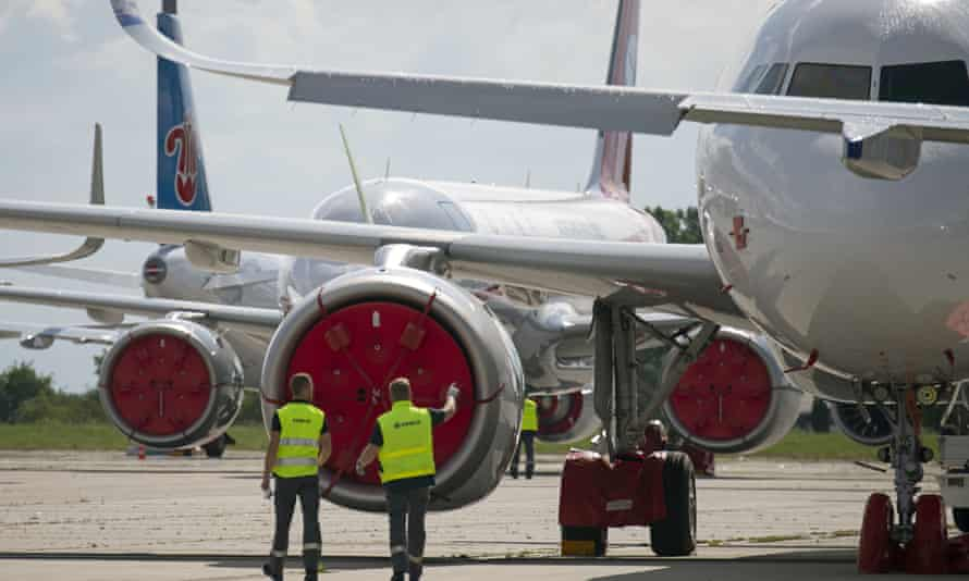 New Airbus planes at Erfurt-Weimar airport in Germany