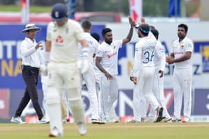 Asitha Fernando celebrates his second wicket, that of Sam Curran.