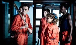 In Misfits, alongside (left to right) Iwan Rheon, Antonia Thomas, Nathan Stewart-Jarrett.