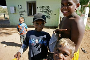 Aboriginal children playing at one of the town camps in Alice Springs when the intervention started in 2007.