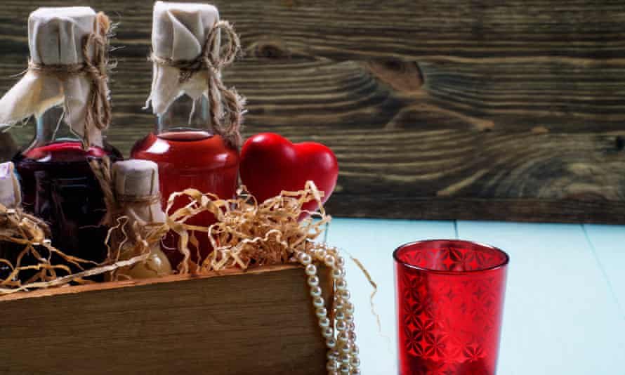 Comfort and joy … a gift basket containing drinks.