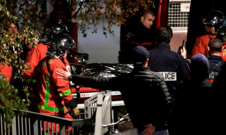 Police and rescue personnel move the body of a tiger that had escaped from a circus into a vehicle in Paris after the animal was shot dead
