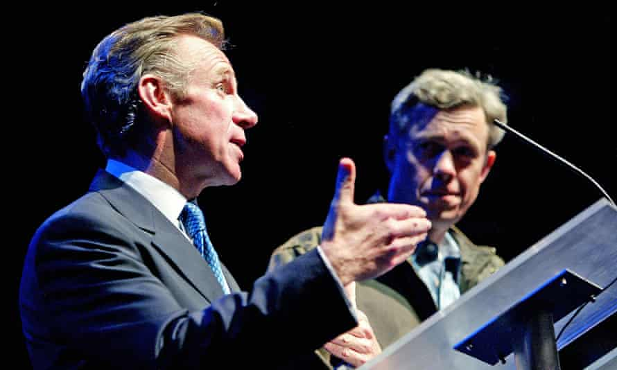 Nicholas Farrell as Tony Blair and Alex Jennings as George W Bush in Stuff Happens at the Olivier theatre in 2004. Photograph: Tristram Kenton for the Guardian