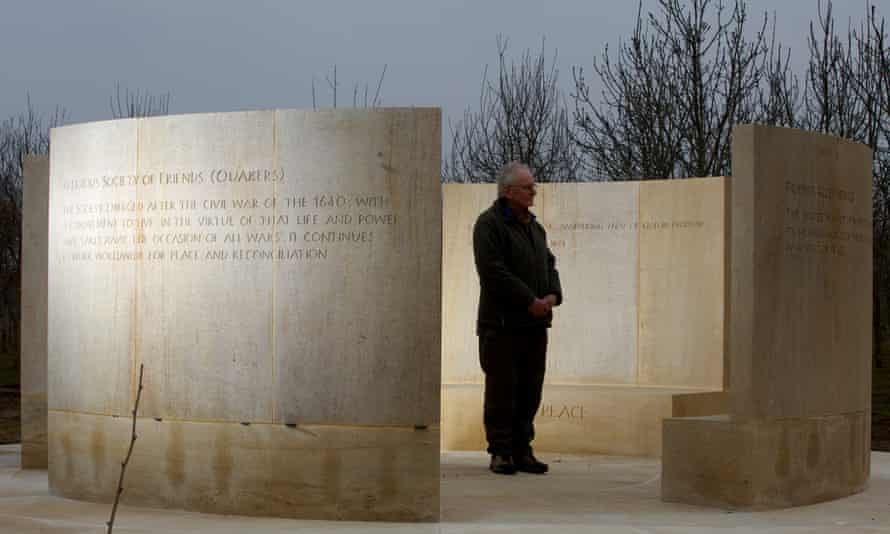 The Quaker Service Memorial recognising the roles played by conscientious objectors in the world wars at the National Memorial Arboretum