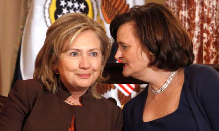 Cherie Blair talks with Secretary of State Hillary Rodham Clinton, at the State Department in Washington.