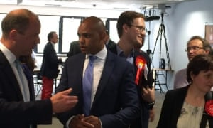 Labour's mayoral candidate in Bristol, Marvin Rees (centre).