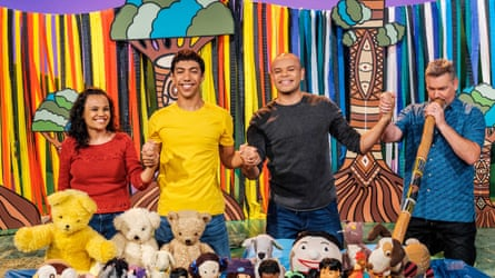 Miranda Tapsell, Hunter Page-Lochard and Luke Carroll with didgeridoo player Matthew Doyle on Play School's Acknowledgement of Country episode for Naidoc week 2019.