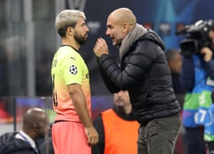 Guardiola gives Aguero instructions before sending him on.