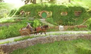 Gandalf arrives at Bag End in the Shire of Hobbiton in this scene in New Line Cinema's Lord of the Rings: The Fellowship of the Rings.